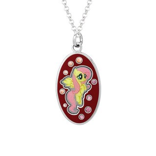 Fine Silver Plated Crystal Fluttershy Oval Dog Tag My Little Pony Pendant Necklace