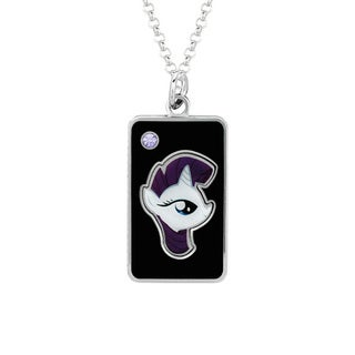 Fine Silver Plated Crystal Crystal Rarity Head Dog Tag My Little Pony Pendant Necklace