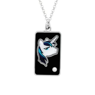 Fine Silver Plated Crystal Crystal Shining Armor Head Dog Tag My Little Pony Pendant Necklace