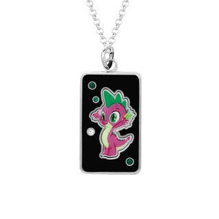 Fine Silver Plated Crystal Spike Dog Tag My Little Pony Pendant Necklace