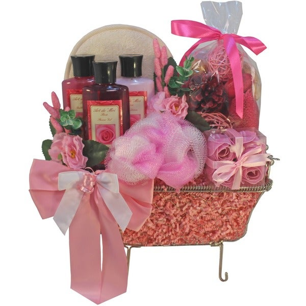 Pretty in Pink Bathtub Spa Bath and Body Gift Basket