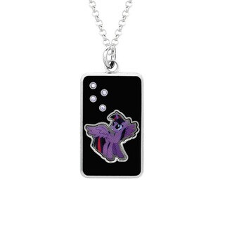 Fine Silver Plated Crystal Twilight Dog Tag My Little Pony Pendant Necklace