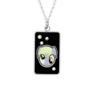 Fine Silver Plated Crystal Muffins Head Dog Tag My Little Pony Pendant Necklace