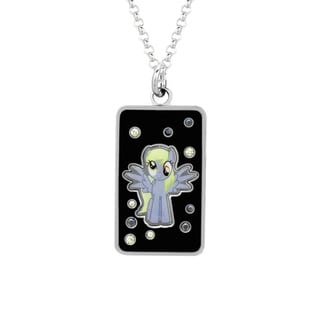 Fine Silver Plated Crystal Muffins Dog Tag My Little Pony Pendant Necklace