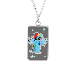 Fine Silver Plated Crystal Rainbow Dash Dog Tag My Little Pony Pendant Necklace
