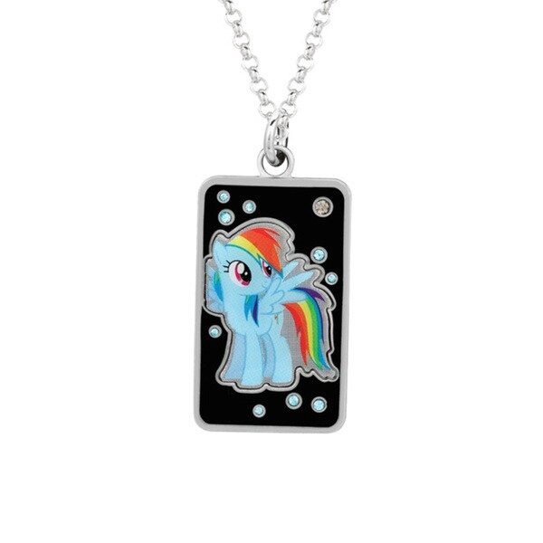 Shop Fine Silver Plated Crystal Rainbow Dash Dog Tag My Little Pony