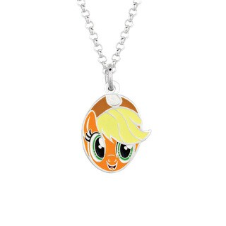 Fine Silver Plated Apple Jack Face My Little Pony Pendant Necklace