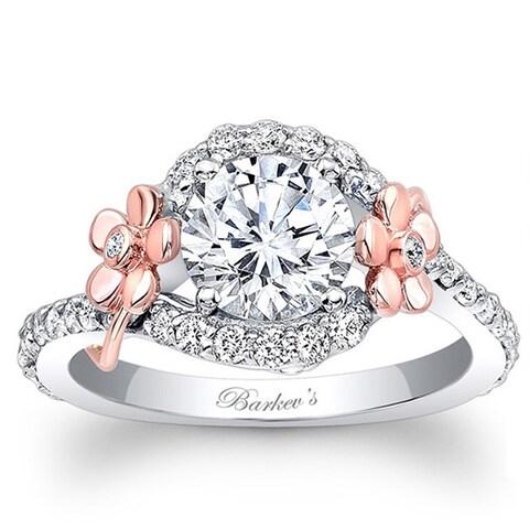Barkev's Designer 14k Rose and White Gold Floral Diamond Engagement Ring
