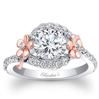 Barkev's Designer 14k Rose and White Gold Floral Diamond Engagement Ring