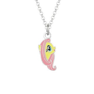 Fine Silver Plated Fluttershy Face My Little Pony Pendant Necklace