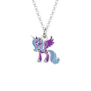 Fine Silver Plated Luna Purple Unicorn My Little Pony Pendant Necklace