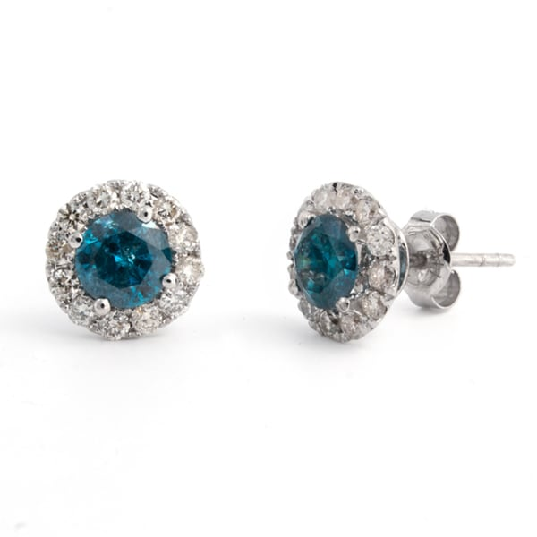 c25429d373f Shop Victoria Kay 14k White Gold 1 3/4ct TDW Blue Diamond Halo Stud ...