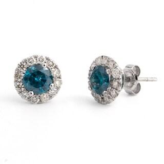 Victoria Kay 14k White Gold 1 3/4ct TDW Blue Diamond Halo Stud Earrings