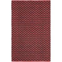 "Handmade Passionata Red Linen Rug - 5'1"" x 8'"