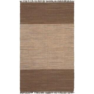 Braided Sienna Beige Cotton Rug (5' x 8')