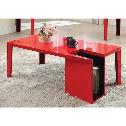 Furniture of America Lesk Modern Red Wood Storage Coffee Table