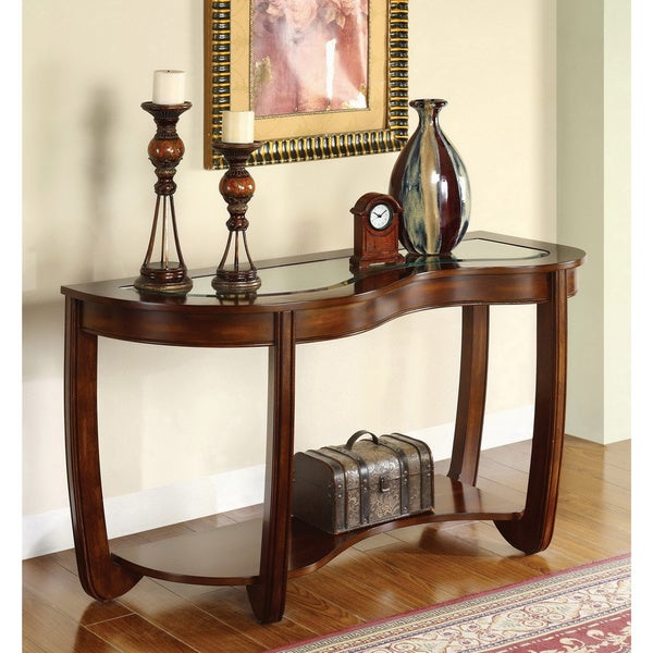 Shop Furniture Of America Curve Dark Cherry Beveled Glass