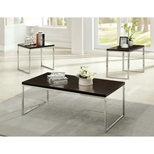 Furniture Of America Menenzi Contemporary 3 Piece Espresso Accent Table Set