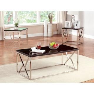Furniture of America Kuzi Contemporary 3-piece Wood/ Chrome Accent Table Set