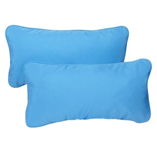 sunbrella capri blue indoor outdoor 12 x 24inch corded lumbar pillows set - Sunbrella Pillows