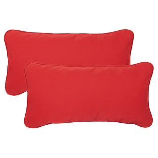 Vibrant Red Corded Indoor/ Outdoor 12 x 24-inch Lumbar Pillows with Sunbrella Fabric (Set of 2)