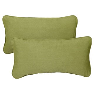 Cilantro Green Corded 12 x 24-inch Lumbar Pillows with Sunbrella Fabric (Set of 2)
