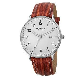 Akribos XXIV Men's Swiss Quartz Date Leather Brown Strap Watch