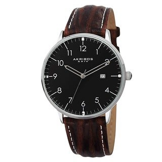 Akribos XXIV Men's Swiss Quartz Date Leather Silver-Tone Strap Watch