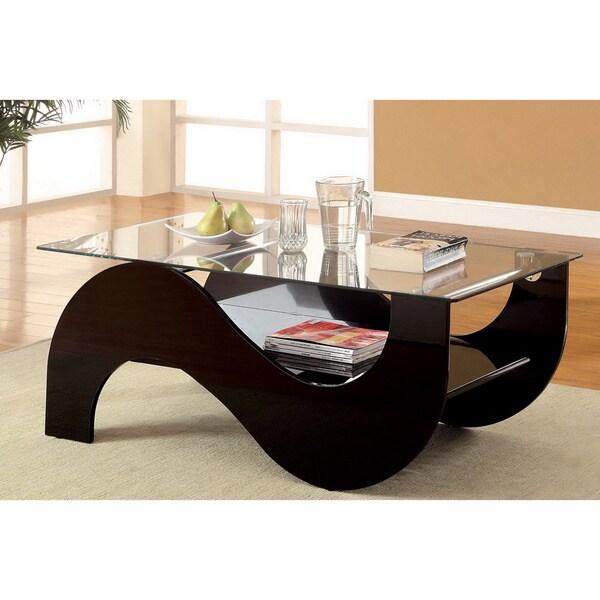 Contemporary Coffee Table Bases: Shop Furniture Of America Sanzi Contemporary Black Lacquer