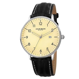 Akribos XXIV Men's Swiss Quartz Date Leather White Strap Watch