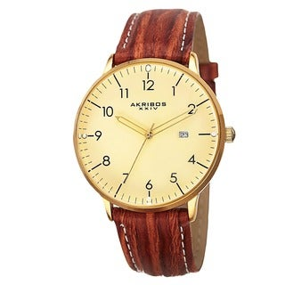 Akribos XXIV Men's Swiss Quartz Date Leather Gold-Tone Strap Watch