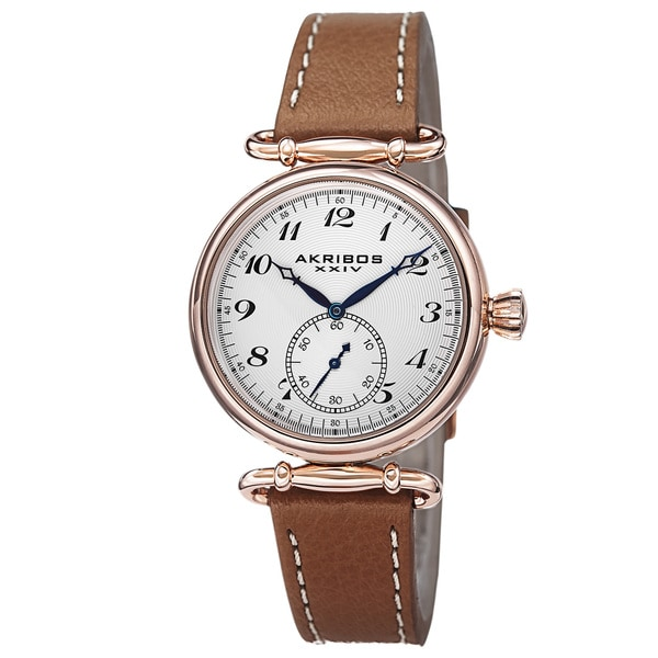 Akribos XXIV Women's Swiss Quartz Stainless Steel Leather Brown Strap Watch with FREE GIFT