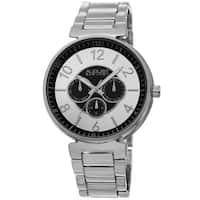August Steiner Men's Quartz Multifunction Silver-Tone Bracelet Watch