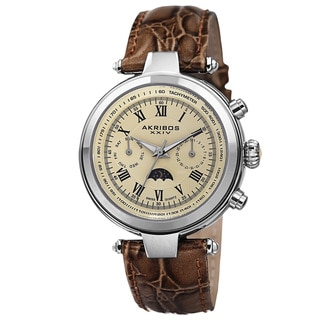 Akribos XXIV Men's Swiss Quartz Multifunction Tachymeter Leather Brown Strap Watch with FREE GIFT