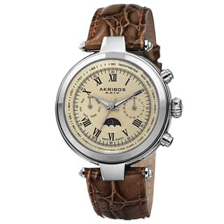 Akribos XXIV Men's Swiss Quartz Multifunction Tachymeter Leather Brown Strap Watch with FREE GIFT|https://ak1.ostkcdn.com/images/products/8933043/Akribos-XXIV-Mens-Swiss-Quartz-Multifunction-Tachymeter-Leather-Strap-Watch-P16147711.jpg?impolicy=medium