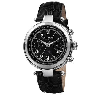 Akribos XXIV Men's Swiss Quartz Multifunction Tachymeter Leather Silver-Tone Strap Watch