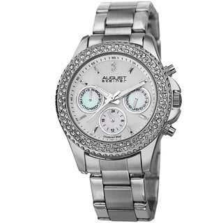 August Steiner Women's Diamond and Crystal Swiss Quartz Multi-function Silver-Tone Watch