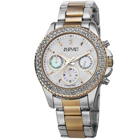 August Steiner Women's Diamond & Crystal Swiss Quartz Multifunction Two-Tone Bracelet Watch
