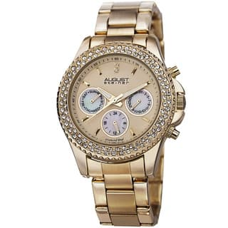 August Steiner Women's Diamond & Crystal Swiss Quartz Multifunction Gold-Tone Bracelet Watch with FREE GIFT|https://ak1.ostkcdn.com/images/products/8933048/August-Steiner-Womens-Diamond-Crystal-Swiss-Quartz-Multifunction-Bracelet-Watch-P16147716.jpg?impolicy=medium