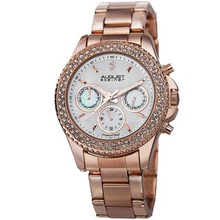 August Steiner Women's Diamond & Crystal Swiss Quartz Multifunction Rose-Tone Bracelet Watch with FREE GIFT
