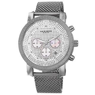 Akribos XXIV Men's Chronograph Sparkling Pave Dial Mesh Silver-Tone Strap Watch