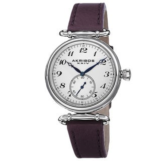 Akribos XXIV Women's Swiss Quartz Stainless Steel Leather Purple Strap Watch