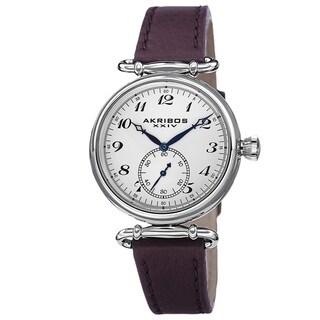 Akribos XXIV Women's Swiss Quartz Stainless Steel Leather Purple Strap Watch with FREE GIFT