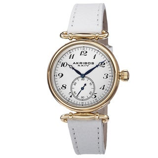 Akribos XXIV Women's Swiss Quartz Stainless Steel Leather White Strap Watch