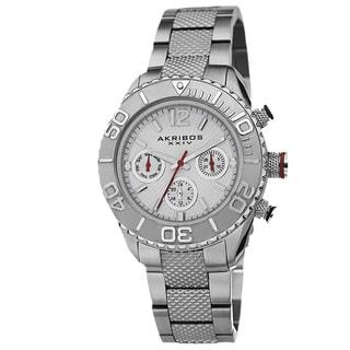 Akribos XXIV Women's Minute-Track Multifunction Stainless Steel Silver-Tone Bracelet Watch