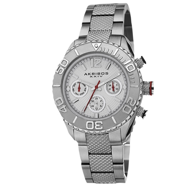 Akribos XXIV Women's Minute-Track Multifunction Stainless Steel Silver-Tone Bracelet Watch