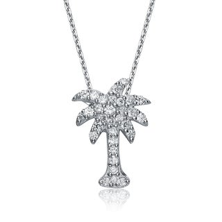 Collette Z Sterling Silver Cubic Zirconia Palm Tree Necklace