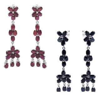 De Buman Sterling Silver Natural Sapphire or Ruby Gemstone Dangle Earrings