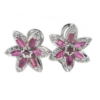 De Buman Sterling Silver Natural Ruby and Cubic Zirconia Earrings