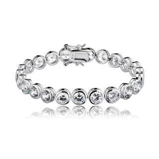 Collette Z Sterling Silver Women's Round Bezel-set Cubic Zirconia Bracelet|https://ak1.ostkcdn.com/images/products/8933081/P16147685.jpg?impolicy=medium